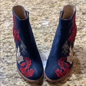 Navy Blue Anthropologie Booties size 9